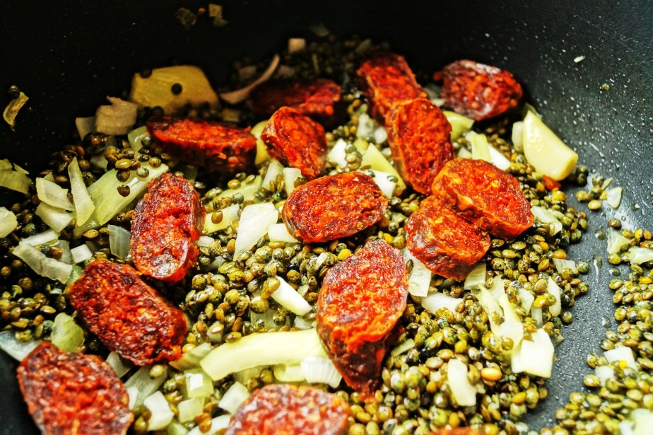 Cooking Chorizo and lentils