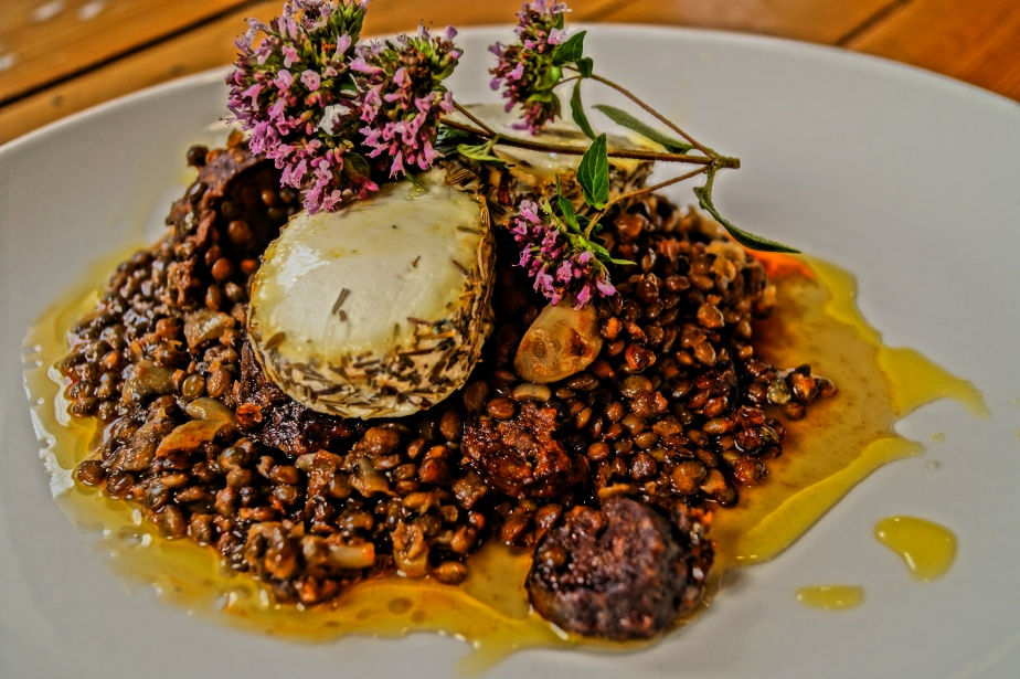 Chorizo, Lentils and goat's cheese serving suggestion