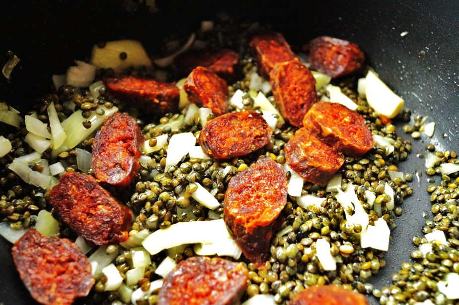 Cooking the lentils and chorizo