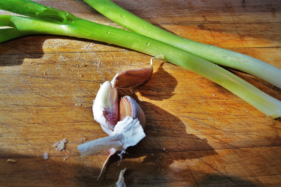 Scallions and garlic
