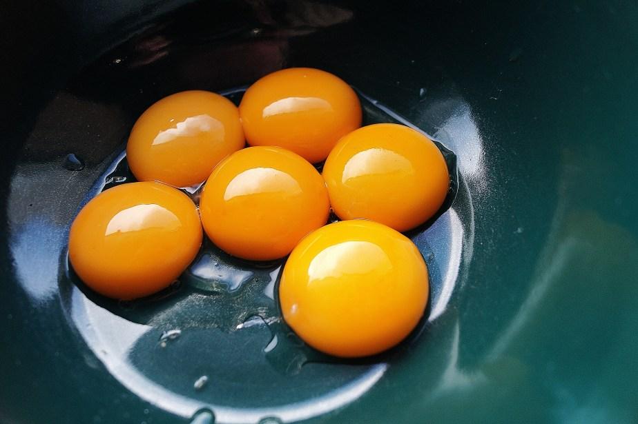 Egg yolks at the ready