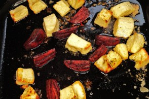 Roasted beets and Halloumi