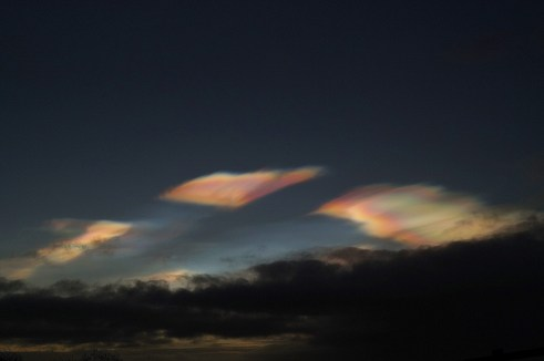Nacreous/ Mother of Pearl clouds over Oldcastle, Co. Meath, Ireland.