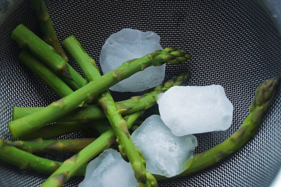 Ice cool the asparagus