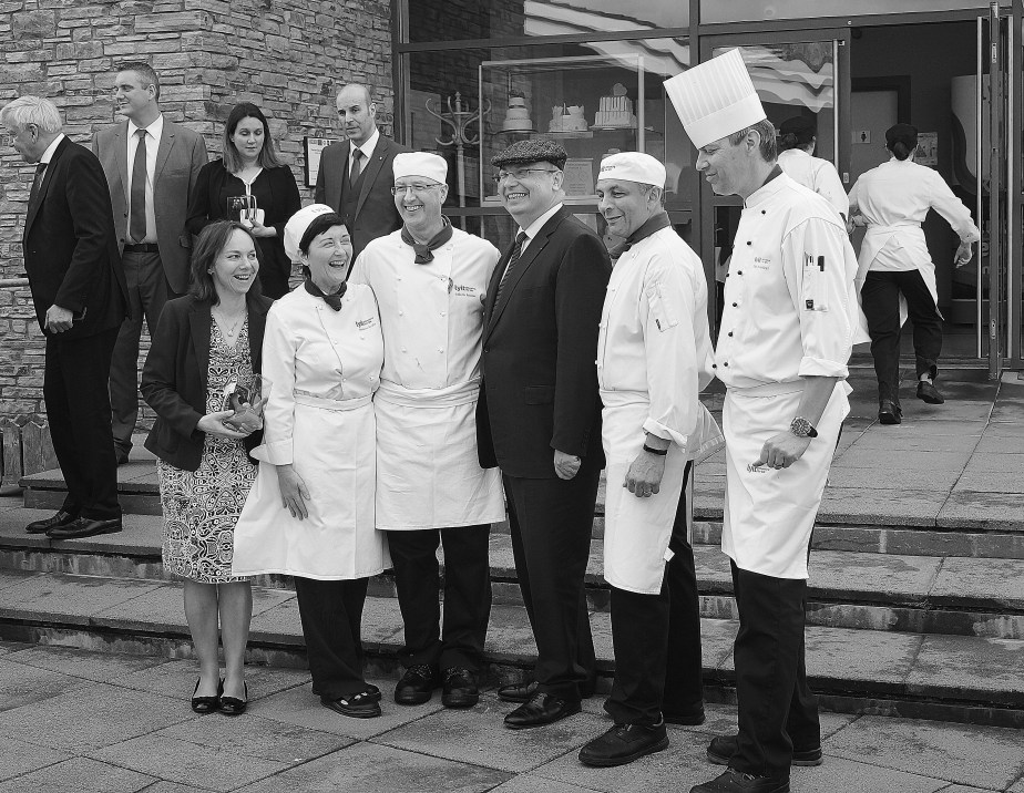 The French Ambassador, H.E Jean-Pierre Thébault, with the chefs and educators